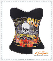 "Black ""Goldsmith, Texas"" Tattoo Corset With Silver Winged Skull, Floral Tribal Detail and Motorcycle With Black Lace Trim"