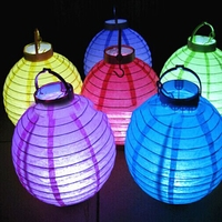 Colorful Paper Hanging Chinese Lantern With Led Battery