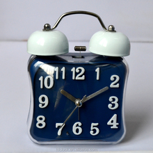 3d words with bending glass of square shape alarm clock with light