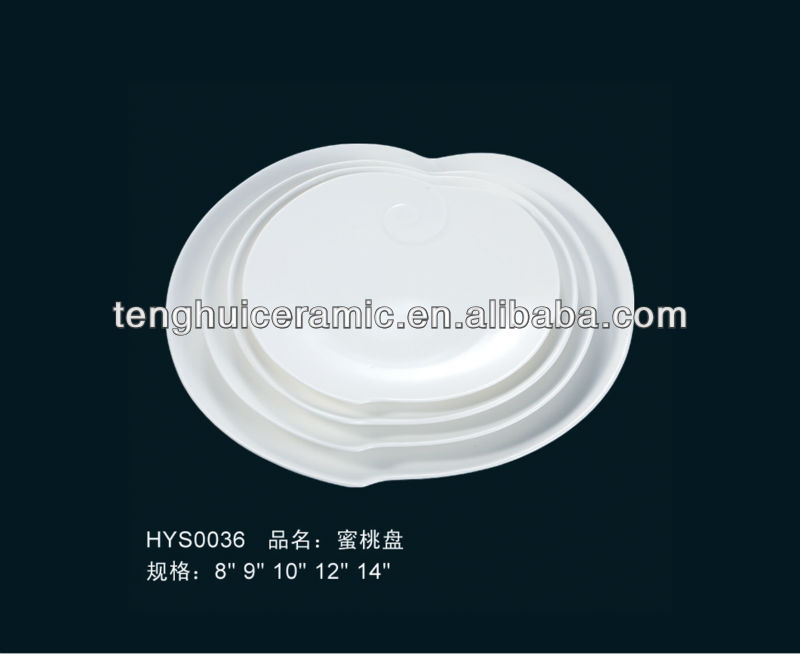 peach shape main plate new bone china flat plate