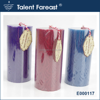Leaves embossed pillar candle with falt top home decarative no incense pillar candle