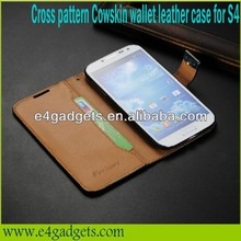 Genuine leather Cross pattern cover case for samsung galaxy s4 active i9295