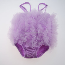 One piece purple strapless children bikini