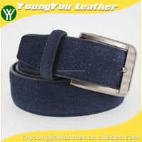 New designer fashion blue genuine leather man jeans with shiny black buckles in yiwu