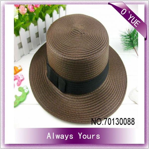 Coffee Casual Plaited Article Women Straw Hats To Decorate