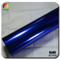 TSAUTOP Rohs Certificate air free bubbles 1.52*30m Blue Mirror Chrome Vinyl Film