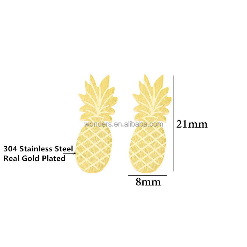 Cute Origami Pineapple Fruit Stud Earrings Wholesale Lot Women New