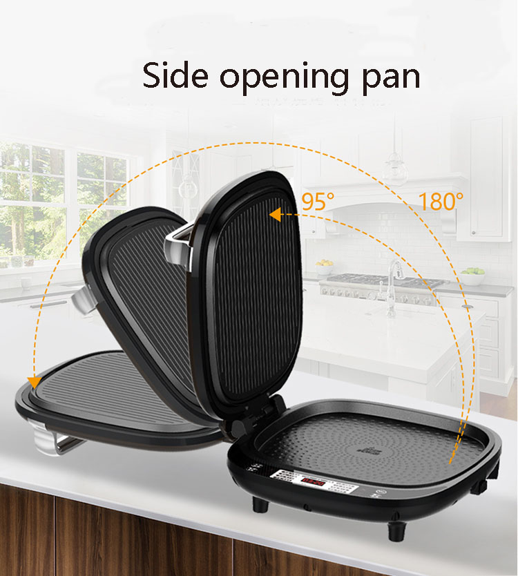 Electric Skillet with Ring no need turn over baking pan