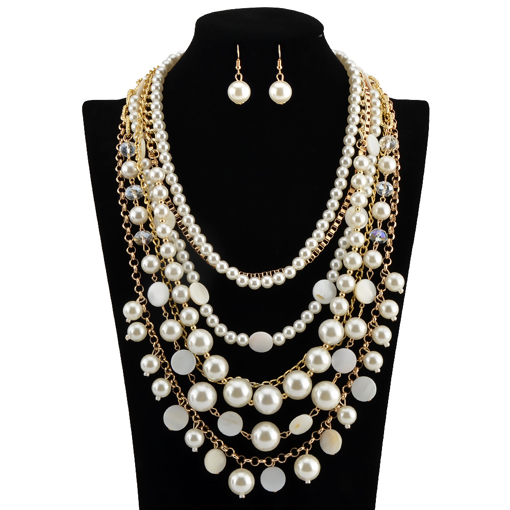 Factory directly wholesale luxury latest design pearl necklace set
