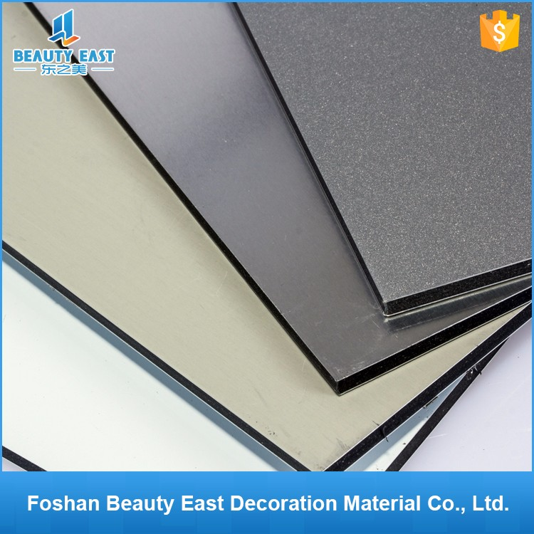 2017 construction material list 8mm grey PVDF ACP sheet aluminum composite panels