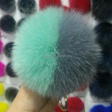 Customized mink fur tail key chain fox fur pom pom balls