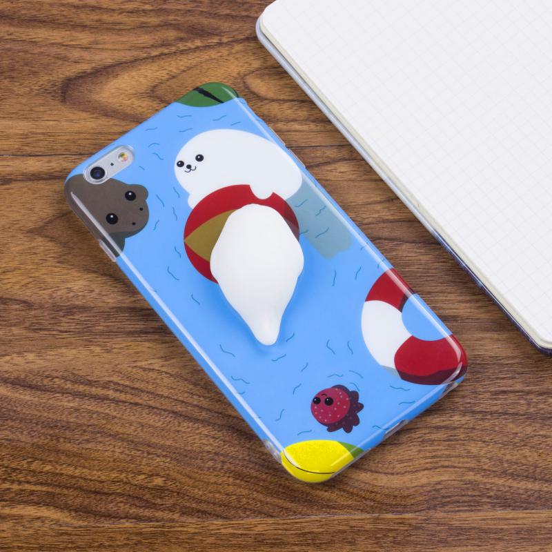 High quality cute 3D soft silicone TPU mobile case- kneading squishy case-squishy phone cover for iPhone 6 / 7