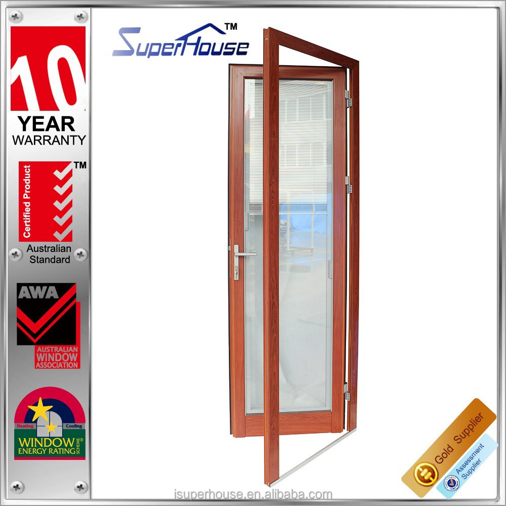 Wooden color Aluminium framed insulated single door design with built-in blinds