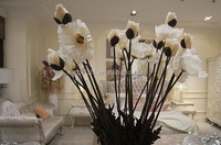 wholesale white artificial poppy single lifelike silk poppy flower 80cmH 10cm dia poppy for indoor decoration