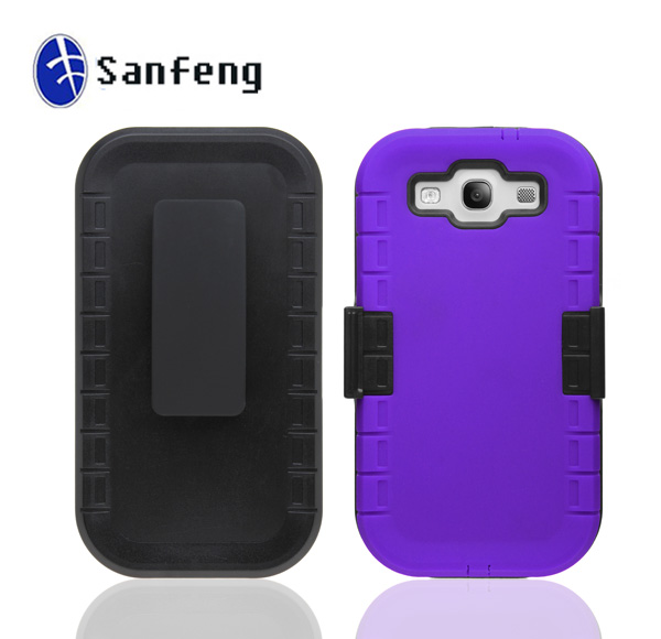 Hybrid Hard Case Cover with Holster Belt Clip for Samsung Galaxy S3 III Housing
