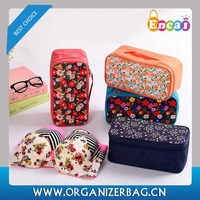 Encai New Arrival Waterproof Collapsible Bra Storage Bag Floral Travel Underwear Organizer Bag