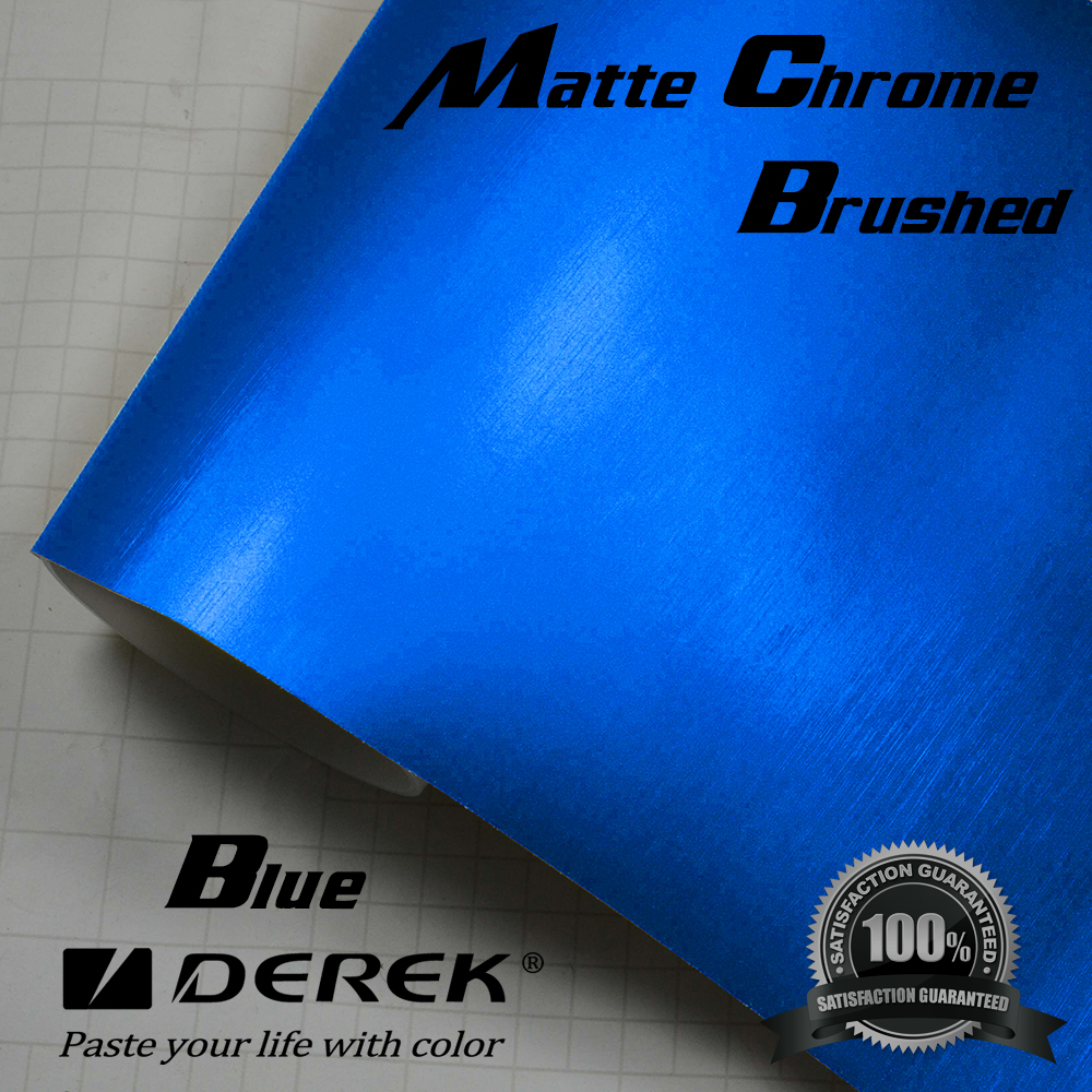 Automobiles Decoration Matte Chrome Brushed / Matte Metallic Blue Brushed Car Wraps vinyl film