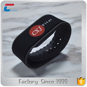 silk screen printing two color LOGOs MIFARE Classic 1K nfc bracelet band rfid rubber wristband