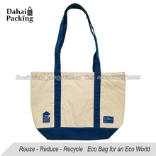 eco friendly canvas tote bag two-tone cotton handle bag reusable cotton canvas shopping bag