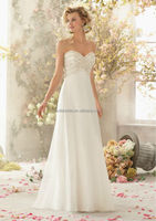 2014 new white organza covered button chiffon sweetheart wedding dress/ new design berta wedding dress