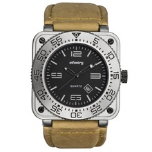 INFANTRY GENUINE LEATHER Silver Waterproof Tactical Military Quartz Sport Watch