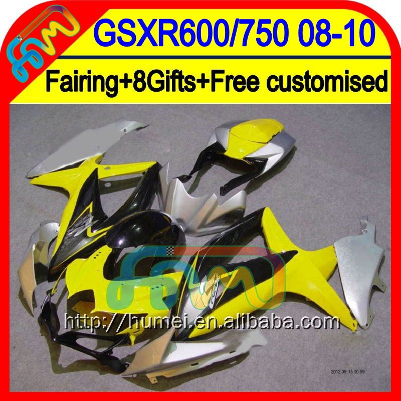 8Gift+ For SUZUKI Yellow black GSXR750 2008 2009 2010 Fairing 4HM8365 K8 08-10 Yellow K8 GSXR 600 750 GSX R600 R750 08 09 10