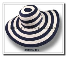 Women straw striped sun beach hat floppy wide brim hat QSHSC32401