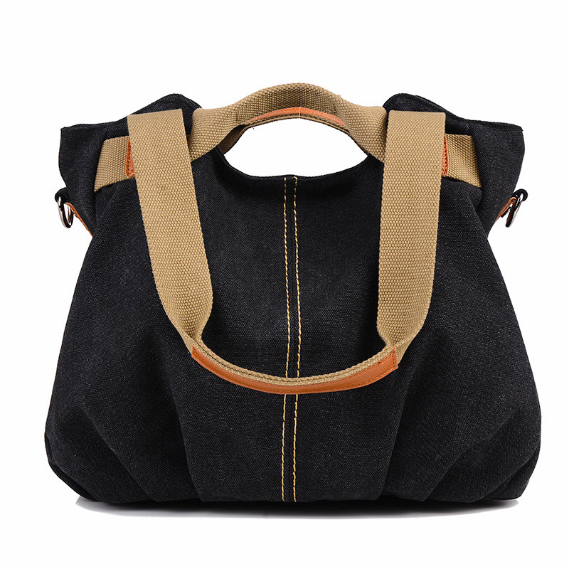 Wholesale korean high quality thick black cotton canvas tote bag with zipper
