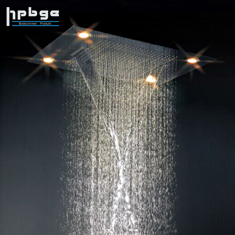 Stainless Steel Waterfall LED Shower Head Rainfall,High Pressure Shower Head
