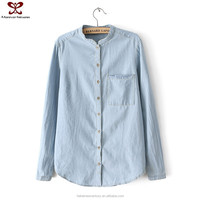 Fashion Single Pocket Standing Collar Denim Woman Lady Blouse&Top, Blouse Designs 2015