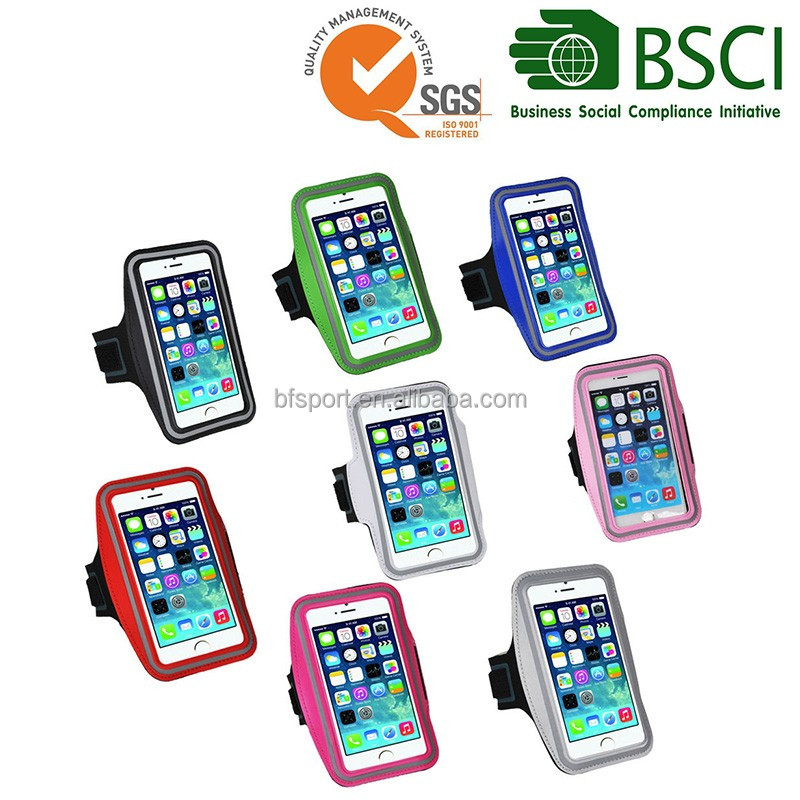 Running customized sport reflective logo printed neoprene armband case cellphone