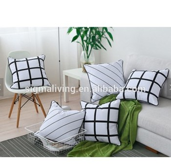 Nordic style black and white striped plain dyed decorative cushion cover