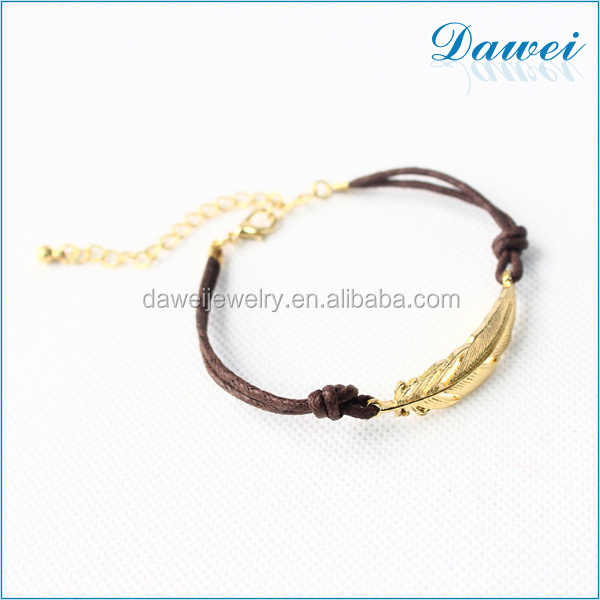 2016 style simple weaving string gold accessary leaves bracelet for valentine's day