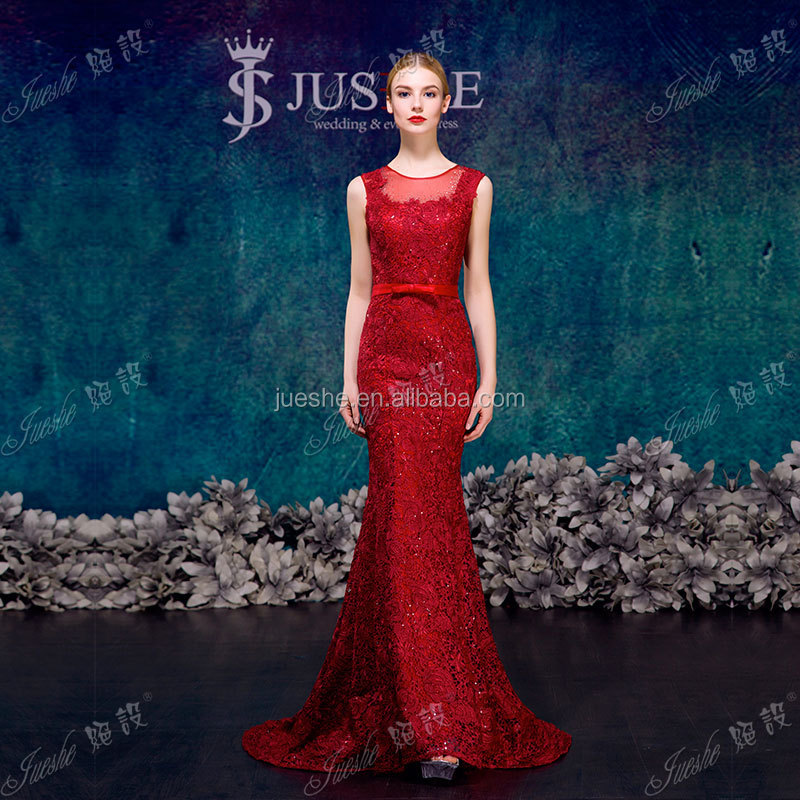 Fast Delivery Real Pictures Red Lace Mermaid Latest Design Formal Evening Gown 2015