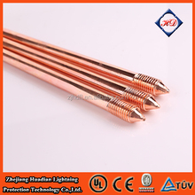 "threaded copper earth rod high conductivity 5/8"" 3/4"" UL listed copper weld ground rod earth rod"