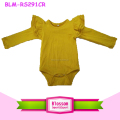 Mustard Kids Bodysuit O Neck Unisex Top Baby Clothes Romper Triple Cotton Wing Onesie Wholesale Long Sleeve Flutter Romper
