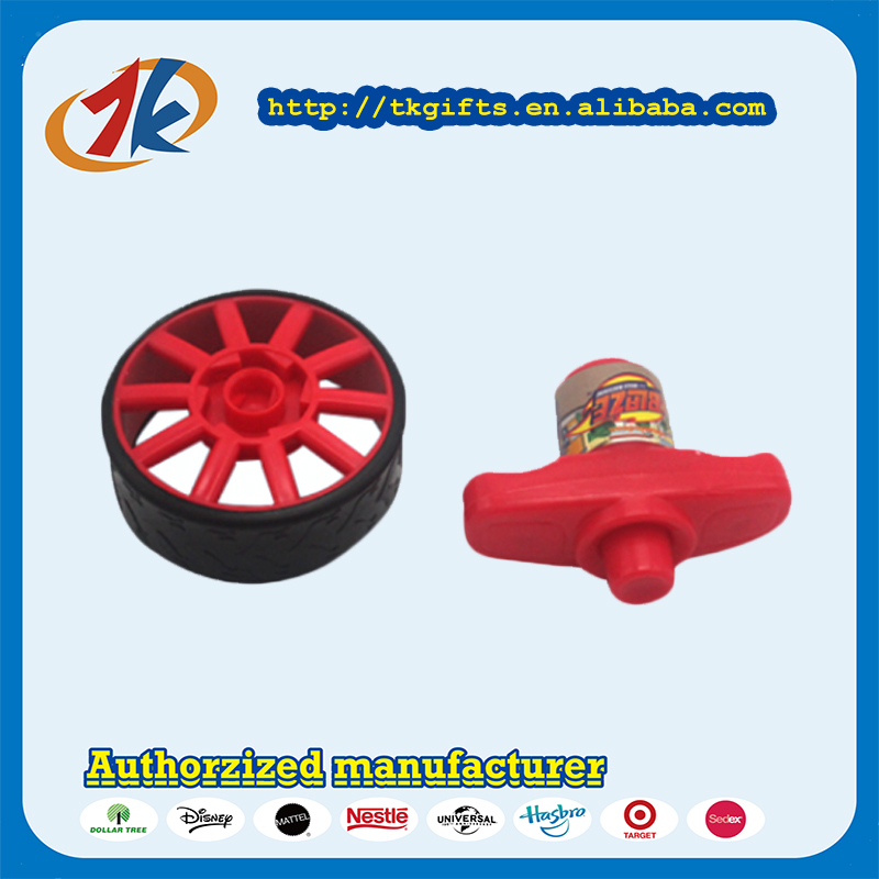 Novel Funny Wind Up Plastic Wheel Spinning Top Toys