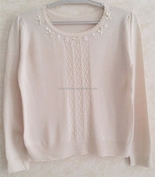 Ladies weaving pure color pullover o-neck knitting women braid sweater