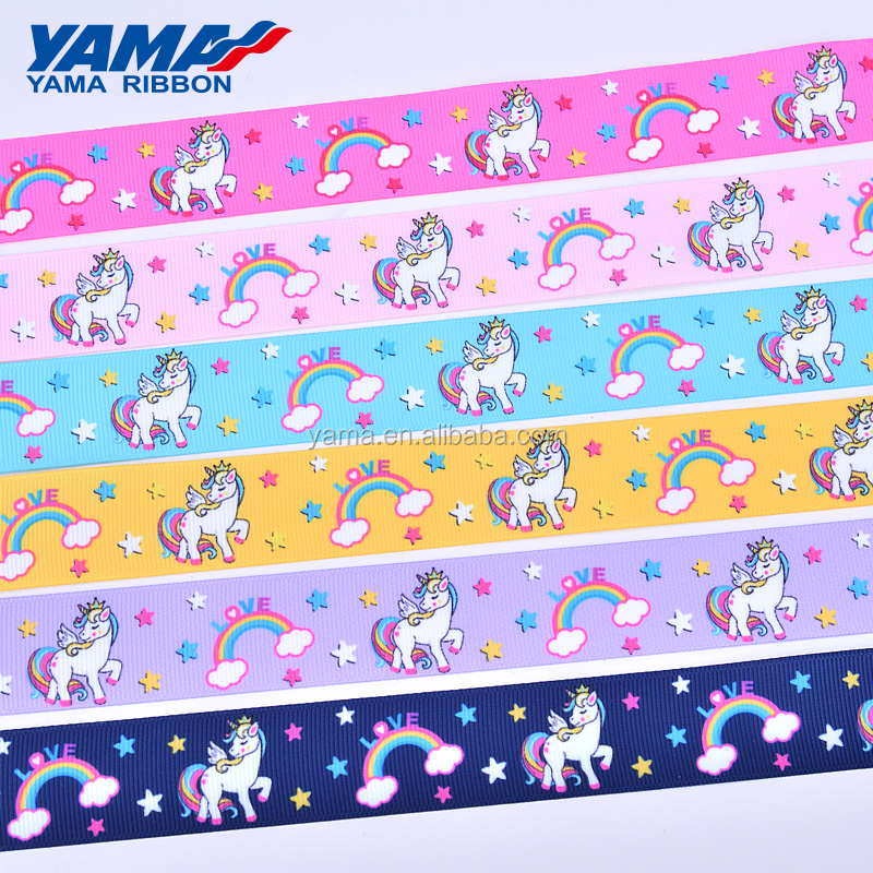 YAMA factory custom logo double faces satin grosgrain printed ribbon