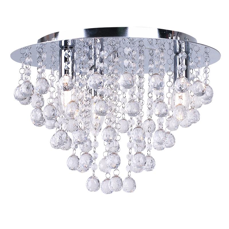 PAIR Modern Square Flush Fitting Chrome Ceiling Light Lamp Crystal Droplet