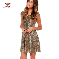 Women Sunshine Gleam Gold Sequin A Sweetly Scooping Boat Neck Back Deep V Pretty Girls Sexy Night Dress
