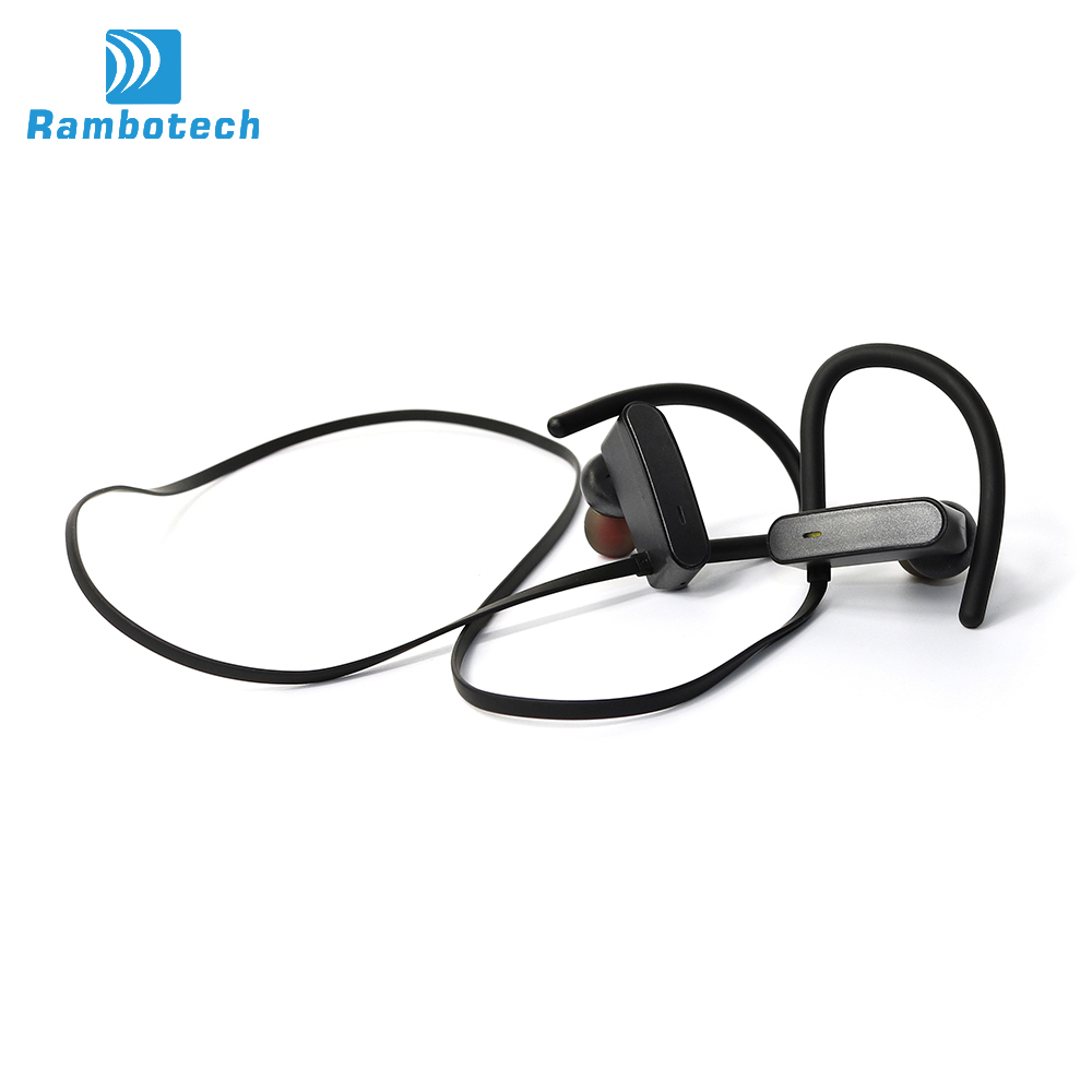IPX7 Waterproof Sport Bluetooth Head Phones 2017 Wireless Bluetooth Earphone With Soft Earhook Bluetooth Headset RU10