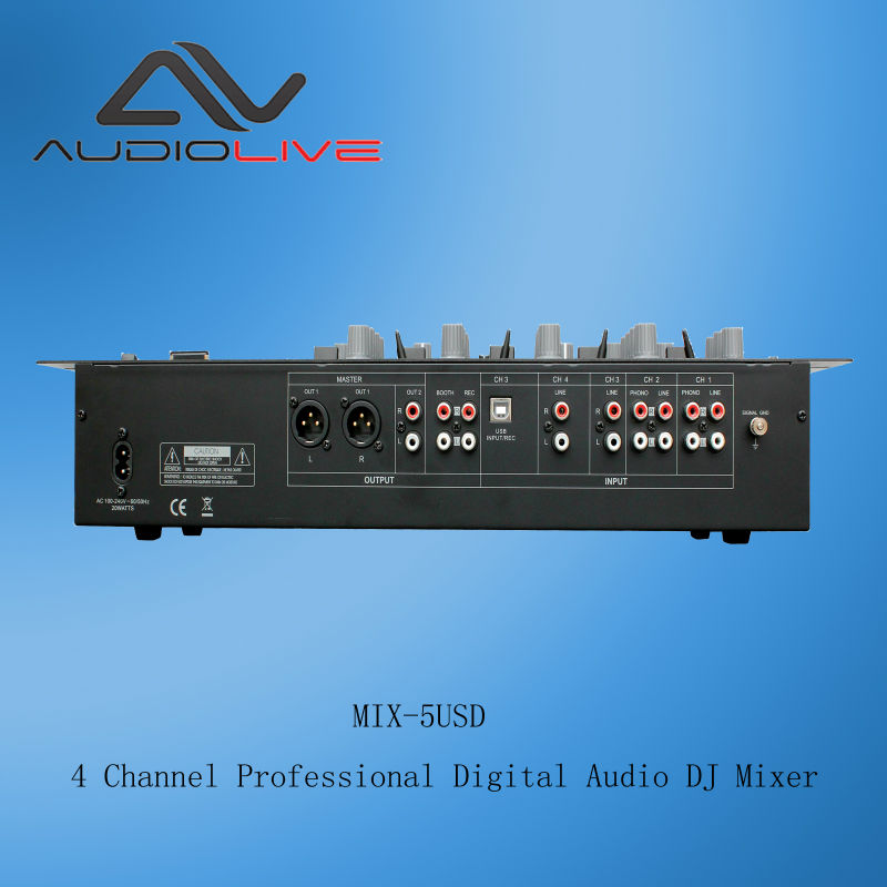 Professional 5 Channel Digital Audio DJ Mixer MIX-5 USD