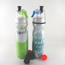 Custom Double Wall Wide Mouth Vacuum Silicone Classic Loop Top plastic sport squeeze water bottle with nozzle