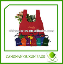 2014 customized polyester shopping bag with clip on pouch