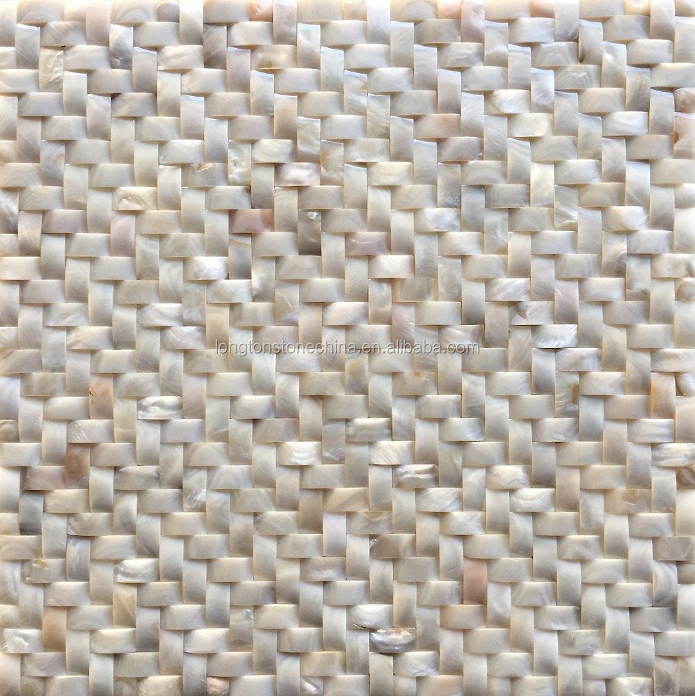 "White Shell Mosaic Tile 3D Wavy Herringbone 12""x12"" Painting Wall Art Indian Sea Shells"
