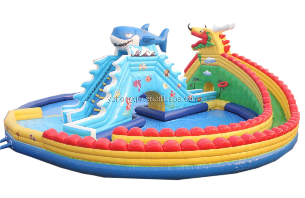 2017 new durable dragon inflatable theme and other series water park with pool on land interesting for kids playing