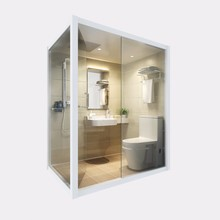 Honlley bathroom fiberglass luxury all in one portable shower unit, shower toilet unit