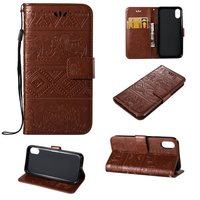 Fashion Wrist Strap Flip Folio PU leather wallet case for iphone X