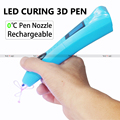 OEM USB 3d pen doodler low temperature LED Light curing 3d pen with 2 colors printing pen gel free FCC approved
